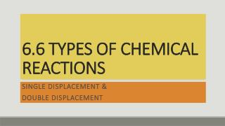 6.6 TYPES OF CHEMICAL REACTIONS