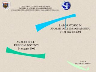 ANALISI DELLE RIUNIONI DOCENTI 24 maggio 2002