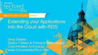 Extending your Applications  into the Cloud with RDS