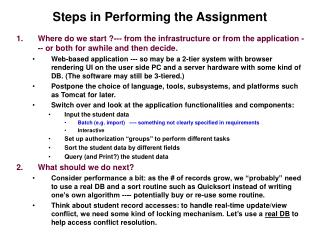 Steps in Performing the Assignment