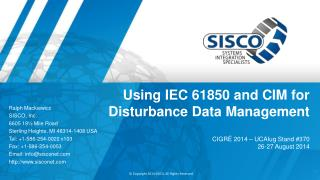 Using IEC 61850 and CIM for Disturbance Data Management
