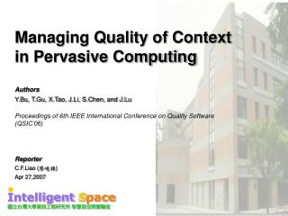 Managing Quality of Context in Pervasive Computing