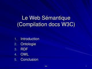 Le Web Sémantique (Compilation docs W3C)