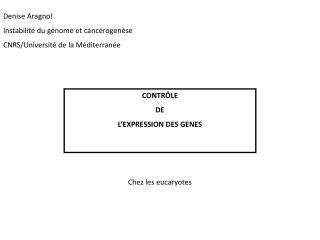 CONTR LE DE L EXPRESSION DES GENES