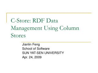 C-Store: RDF Data Management Using Column Stores