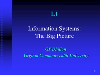 L1 Information Systems: The Big Picture