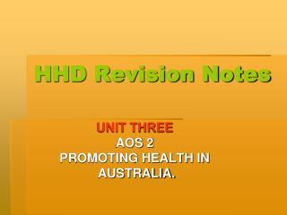 HHD Revision Notes