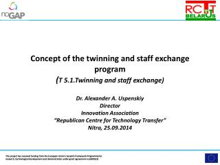 Concept of the twinning and staff exchange  program ( T 5.1.Twinning  and staff  exchange)