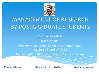 MANAGEMENT OF RESEARCH BY POSTGRADUATE STUDENTS