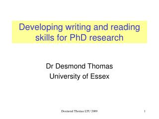 Developing writing and reading skills for PhD research