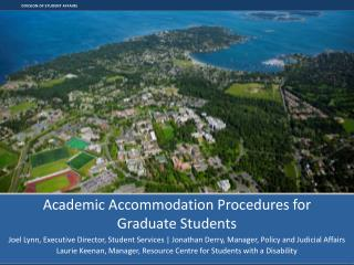 Academic Accommodation Procedures for  Graduate Students