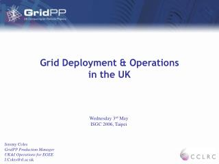 Grid Deployment & Operations  in the UK