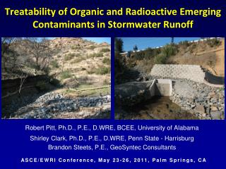Treatability of Organic  and Radioactive Emerging Contaminants in Stormwater  Runoff