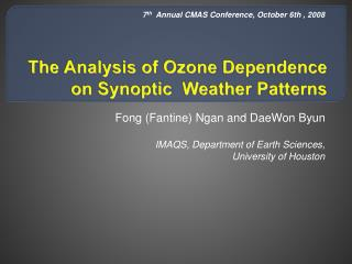 The Analysis of Ozone Dependence on Synoptic  Weather Patterns