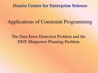 Applications of Constraint Programming