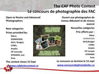 The CAF Photo Contest Le concours de photographie des FAC