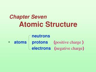 Chapter Seven Atomic Structure