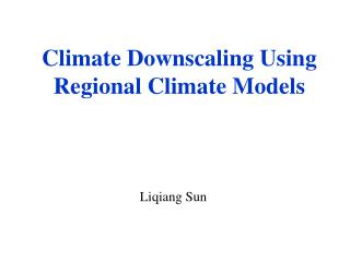 Climate Downscaling Using Regional Climate Models