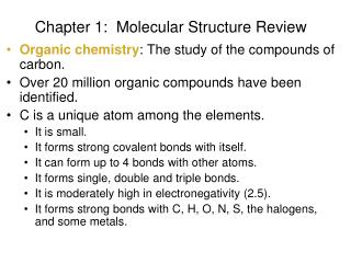 Chapter 1:   Molecular Structure Review