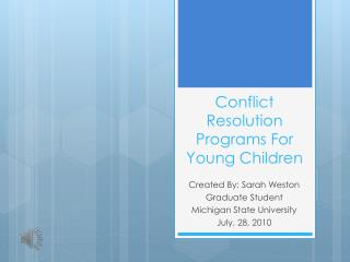 Conflict Resolution Programs For Young Children