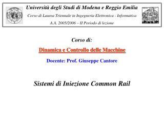 Corso di:  Dinamica e Controllo delle Macchine