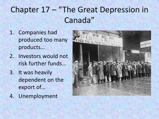 "Chapter 17 – ""The Great Depression in Canada"""