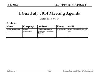 TGax July 2014 Meeting Agenda