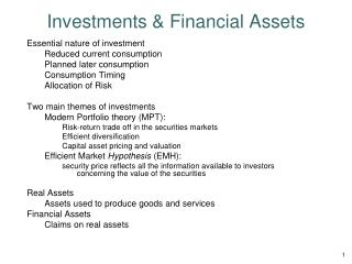 Investments & Financial Assets