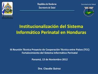 Institucionalización del Sistema Informático Perinatal en Honduras