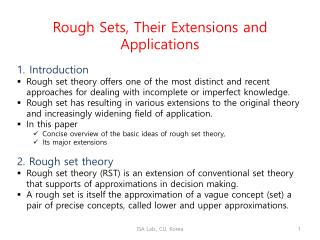 Rough Sets, Their Extensions and Applications Introduction