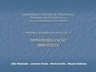 UNIVERSIDADE CATÓLICA DE PERNAMBUCO Departamento de Engenharia Curso de Arquitetura e Urbanismo