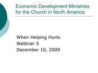 Economic Development Ministries for the Church in North America
