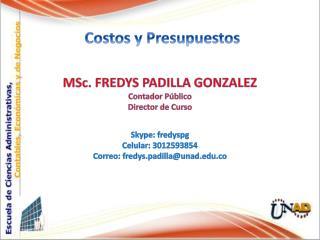 MSc .  FREDYS PADILLA GONZALEZ Contador Público Director de Curso Skype: fredyspg