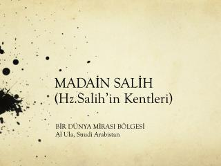 MADAİN SALİH ( Hz.Salih'in Kentleri )