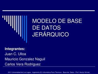 MODELO DE BASE DE DATOS JERÁRQUICO