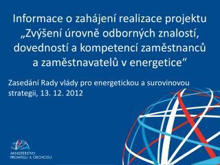 Zasedání Rady vlády pro energetickou a surovinovou strategii, 13. 12. 2012