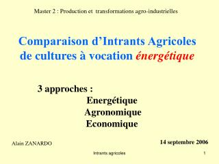 Comparaison d'Intrants Agricoles de cultures à vocation  énergétique