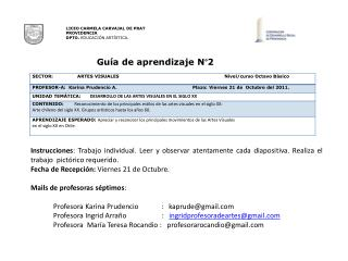 LICEO CARMELA CARVAJAL DE PRAT PROVIDENCIA DPTO. EDUCACI N ART STICA.                                         Gu a de ap