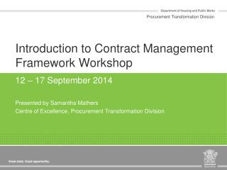 Introduction to Contract Management Framework Workshop