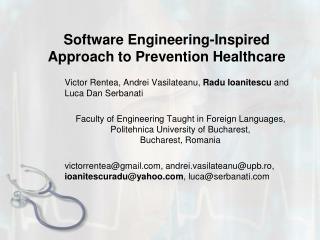 Software Engineering-Inspired Approach to Prevention Healthcare