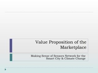Value Proposition of the Marketplace