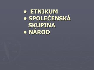 �  ETNIKUM � SPOLE?ENSK�        SKUPINA � N�ROD