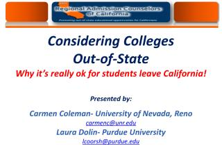 regionaladmissions Providing out-of-state options for students of California