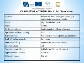IDENTIFIKÁTOR MATERIÁLU: EU - 6  –  28 -  Obyvatelstvo