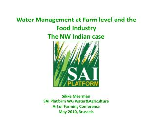 Sikke Meerman SAI Platform WG Water&Agriculture Art of Farming Conference May 2010, Brussels