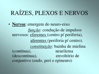 RAÍZES, PLEXOS E NERVOS