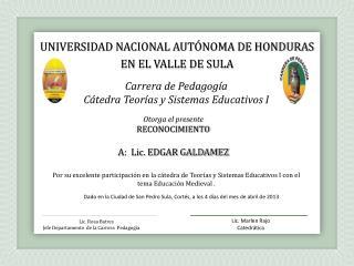 Carrera de Pedagogía  Cátedra Teorías y Sistemas Educativos I