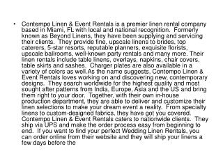 Contempo Linen & Event Rentals