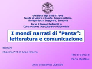 """I mondi narrati di """"Panta"""": letteratura e comunicazione"""