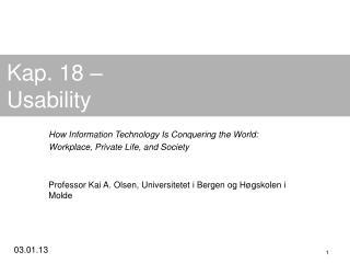 Kap. 18 – Usability